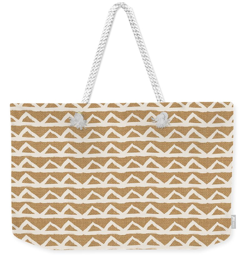 Triangles Weekender Tote Bag featuring the mixed media White Triangles On Burlap by Linda Woods