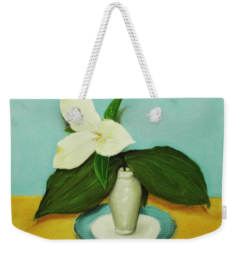 Wild Flower Weekender Tote Bag featuring the painting White Trillium by Anastasiya Malakhova