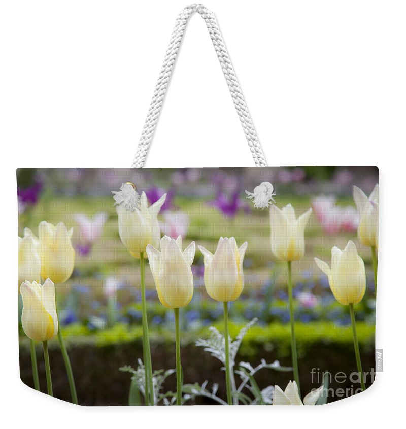 Bloom Weekender Tote Bag featuring the photograph White Tulips In Parisian Garden by Brian Jannsen
