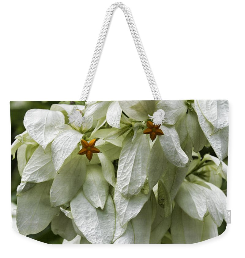 White Weekender Tote Bag featuring the photograph White Veil Of Tropical Flowers by Douglas Barnard