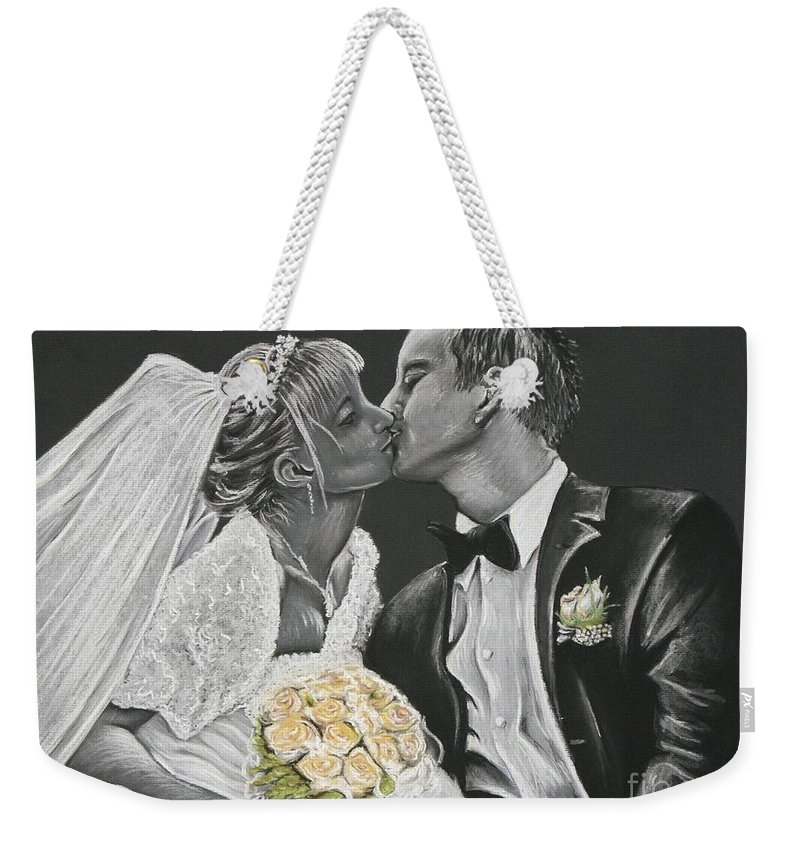 Marriage Weekender Tote Bag featuring the pastel White Wedding by Katharina Filus