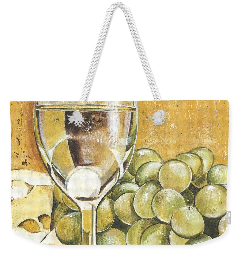 White Wine Weekender Tote Bag featuring the painting White Wine And Cheese by Debbie DeWitt