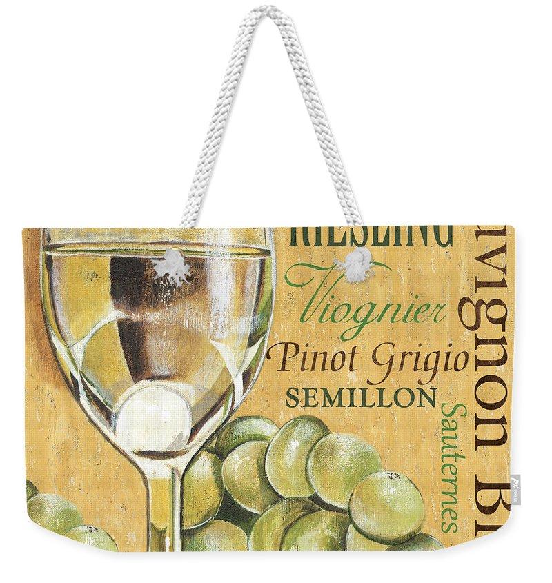 Wine Weekender Tote Bag featuring the painting White Wine Text by Debbie DeWitt