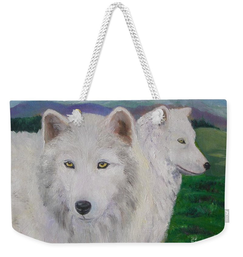 White Weekender Tote Bag featuring the painting White Wolves by Liz Snyder