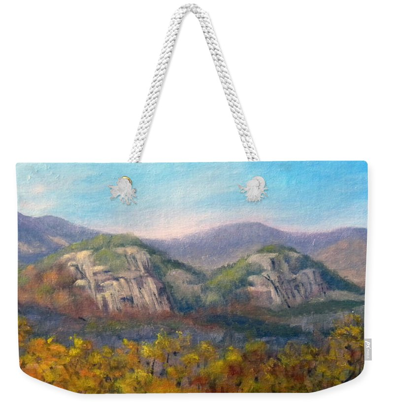 Landscape Weekender Tote Bag featuring the painting Whitehorse and Cathedral Ledges from The Red Jacket Inn by Sharon E Allen