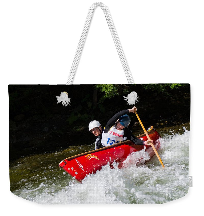 Canoe Weekender Tote Bag featuring the photograph Whitewater Open Canoe Race by Les Palenik