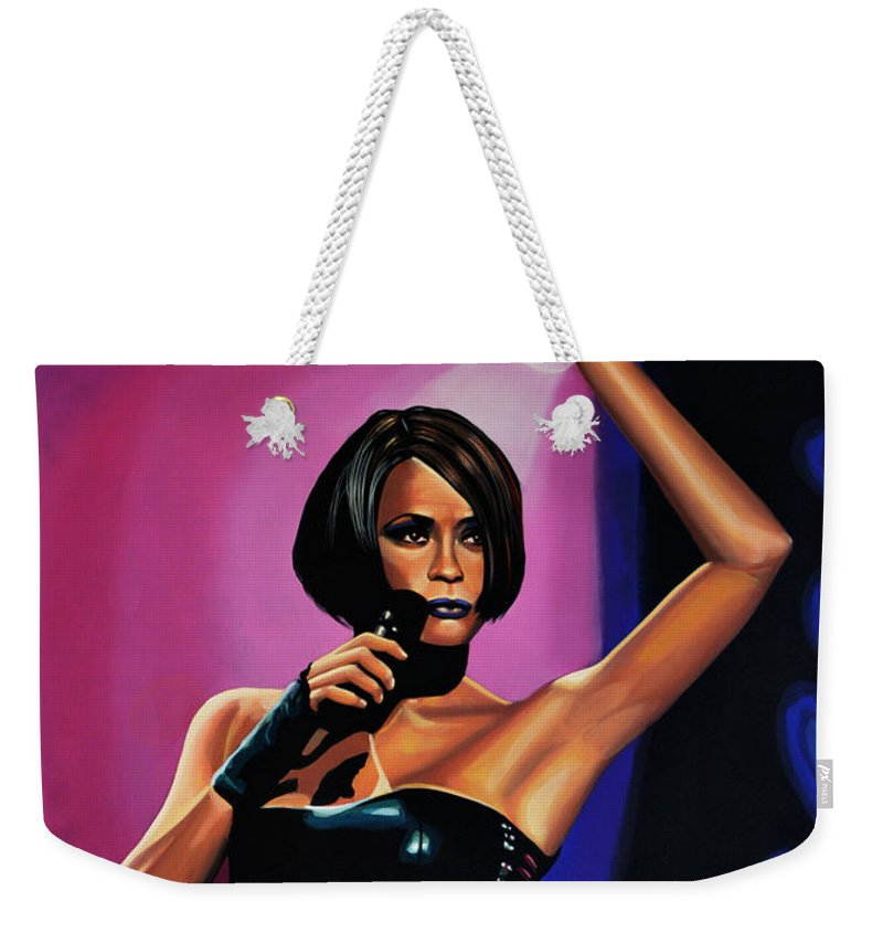 Whitney Houston Weekender Tote Bag featuring the painting Whitney Houston On Stage by Paul Meijering