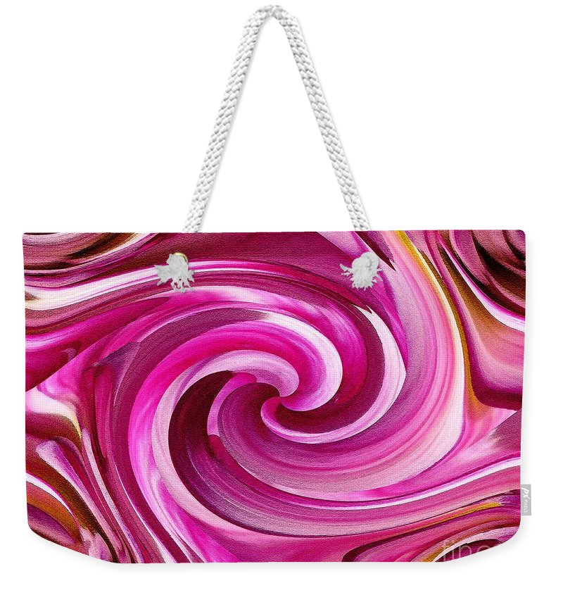 Dahlia Weekender Tote Bag featuring the painting Who Dun It Twirls by J McCombie