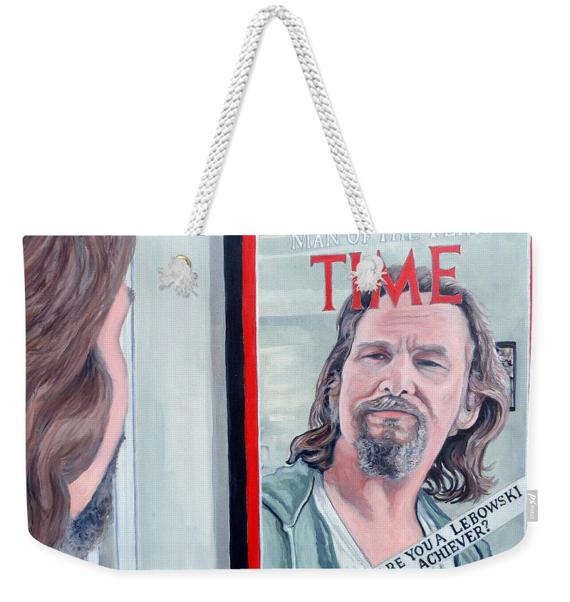 The Dude Weekender Tote Bag featuring the painting Who Is This Guy by Tom Roderick