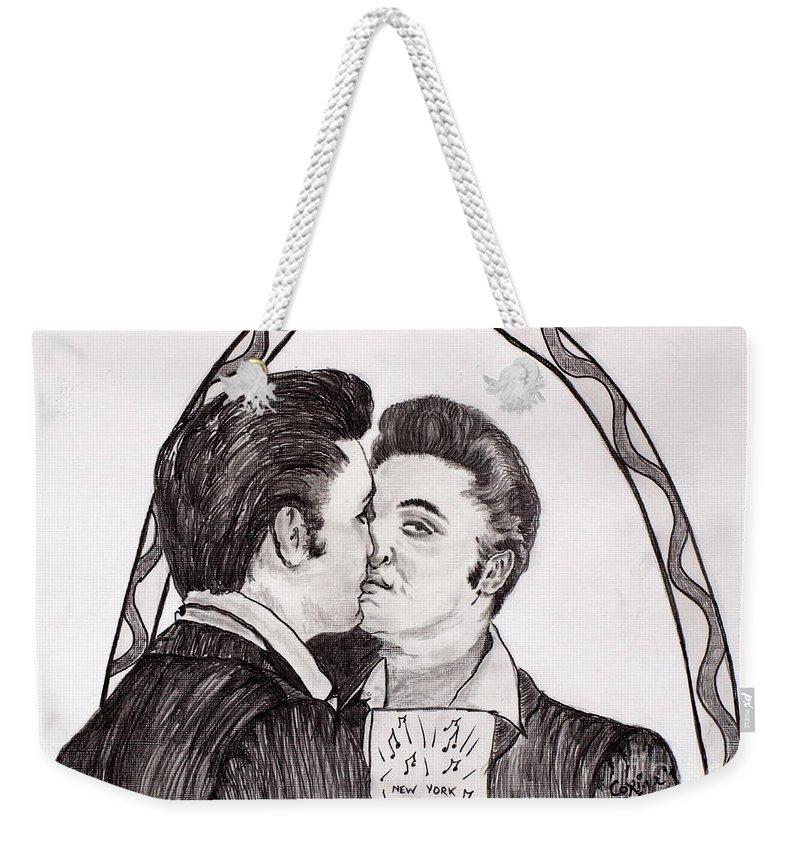 Elvis Weekender Tote Bag featuring the painting Elvis Who Loves Ya Baby? by Corina Hogan