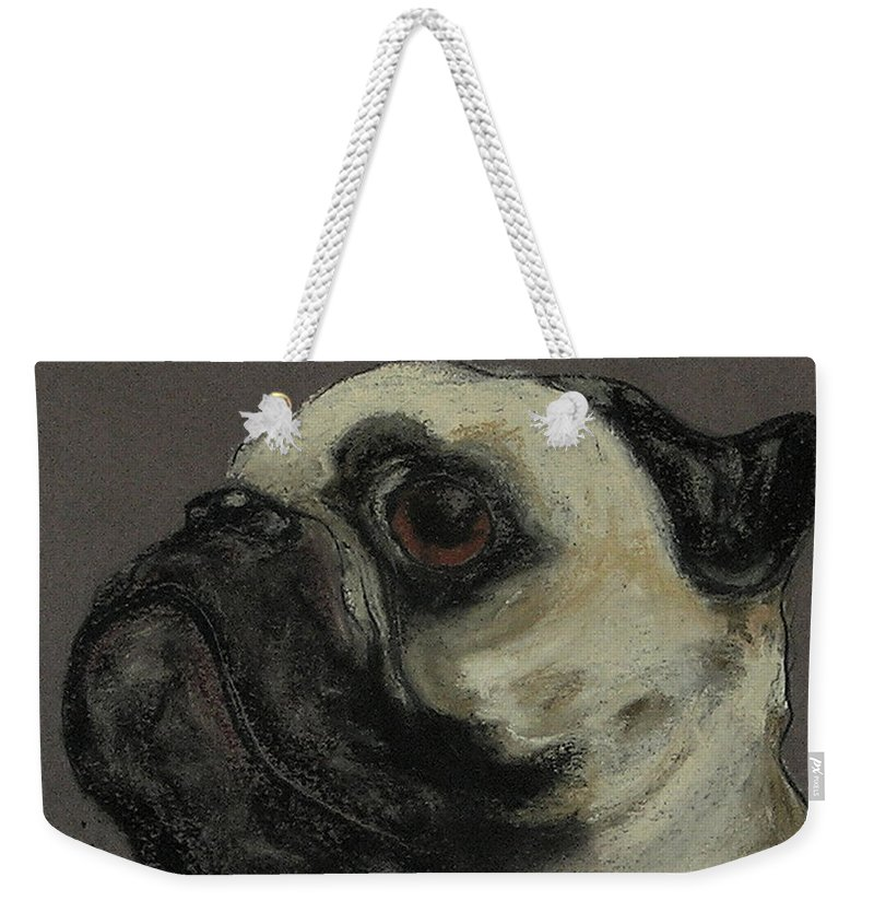 Pastel Weekender Tote Bag featuring the drawing Who Me by Cori Solomon