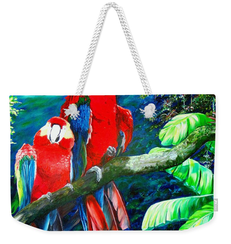 Caribbean Painting Green Wing Macaws Red Mountains Birds Trinidad And Tobago Birds Parrots Macaw Paintings Greeting Card  Weekender Tote Bag featuring the painting Who Me  by Karin Dawn Kelshall- Best