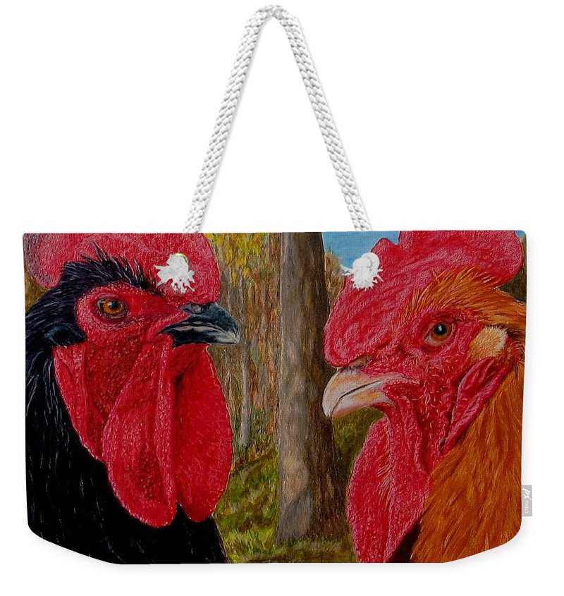Roosters Weekender Tote Bag featuring the painting Who You Calling Chicken by Karen Ilari