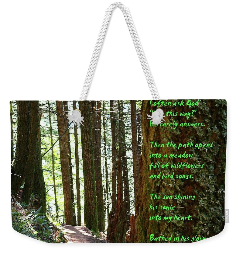 Trees Weekender Tote Bag featuring the photograph Why by Jeff Swan