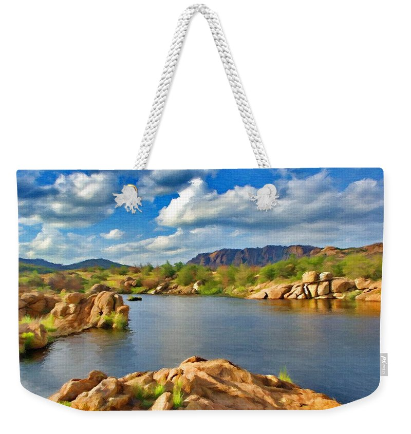 Oklahoma Weekender Tote Bag featuring the painting Wichita Mountains by Jeffrey Kolker