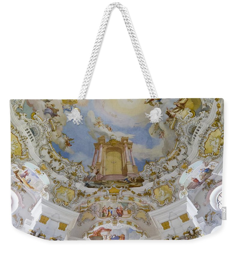 Organ And Ceiling Weekender Tote Bag featuring the photograph Wieskirche Organ And Ceiling by Jenny Setchell