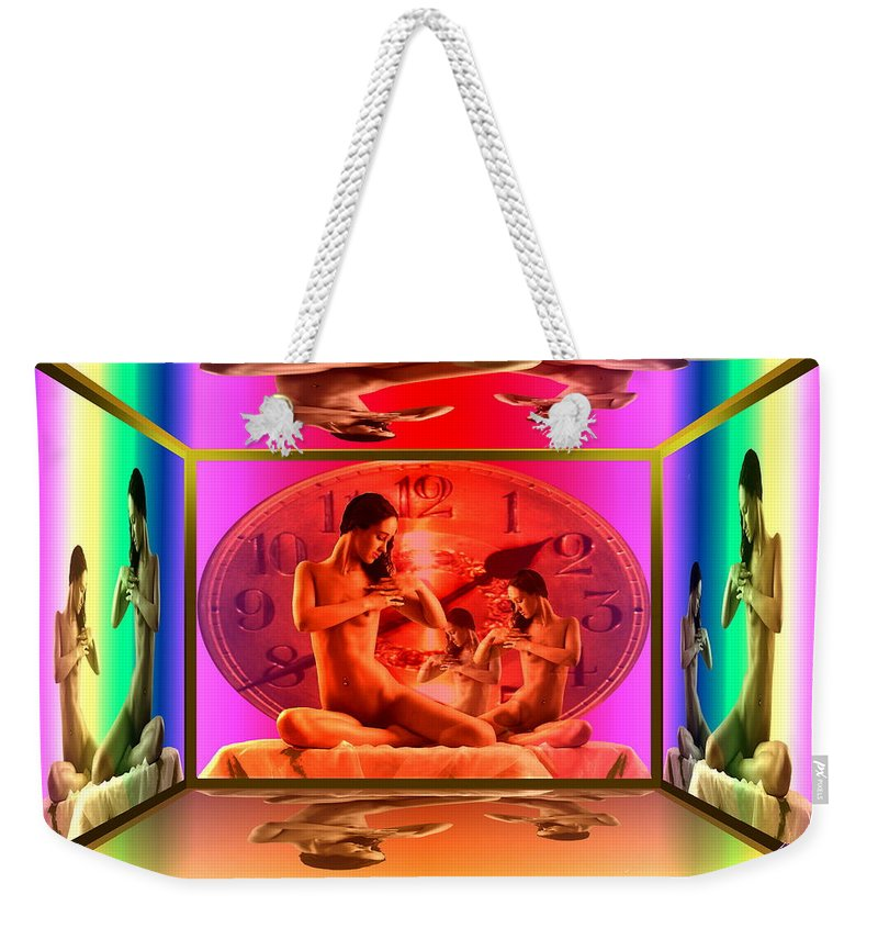 Wife Weekender Tote Bag featuring the digital art Wifes Clock by Helmut Rottler