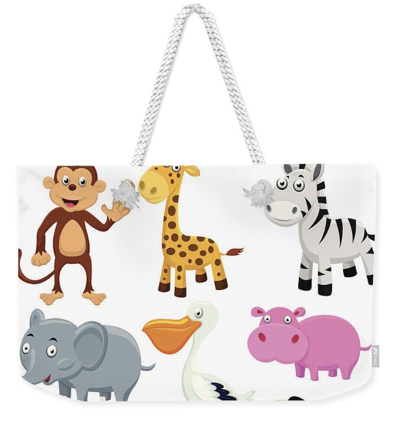Hippopotamus Weekender Tote Bag featuring the digital art Wild Animal Cartoon by Tigatelu