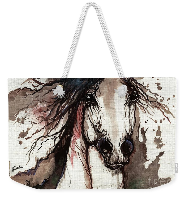 Horse Weekender Tote Bag featuring the painting Wild Arabian Horse by Angel Ciesniarska