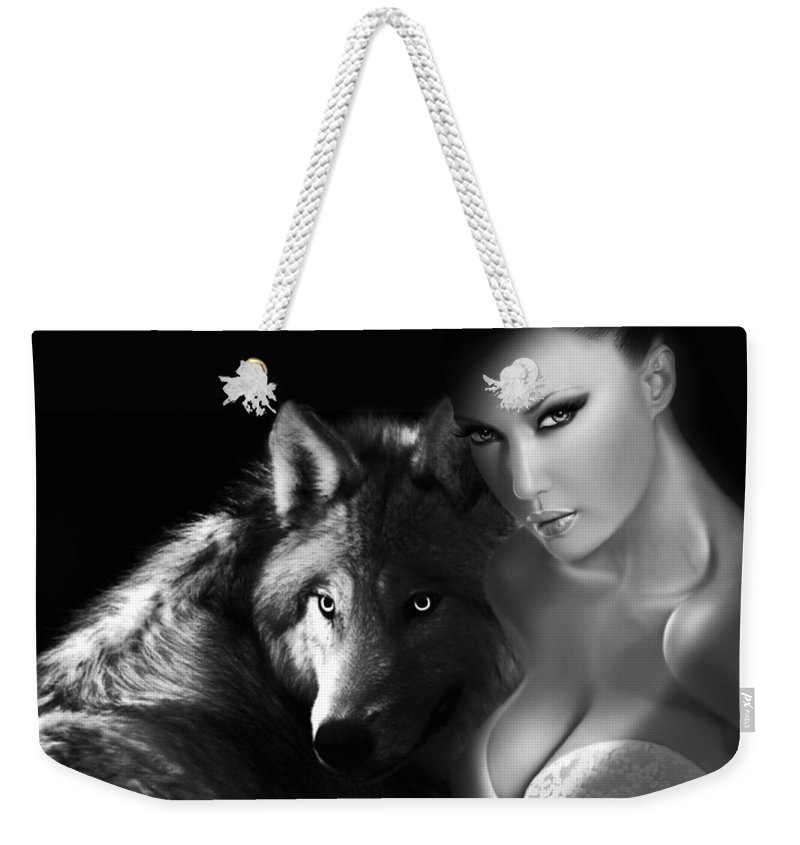 Wolf Weekender Tote Bag featuring the digital art Wild Beauty by Catherin Moon