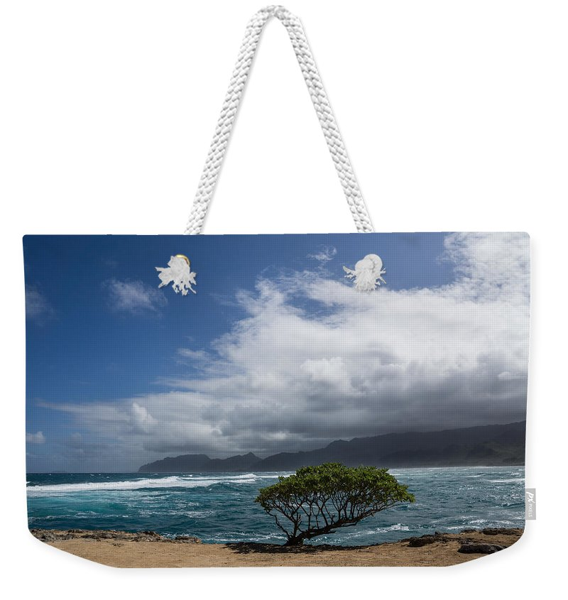 Hawaii Weekender Tote Bag featuring the photograph Wild Coast - Laie Point - North Shore - Hawaii by Georgia Mizuleva