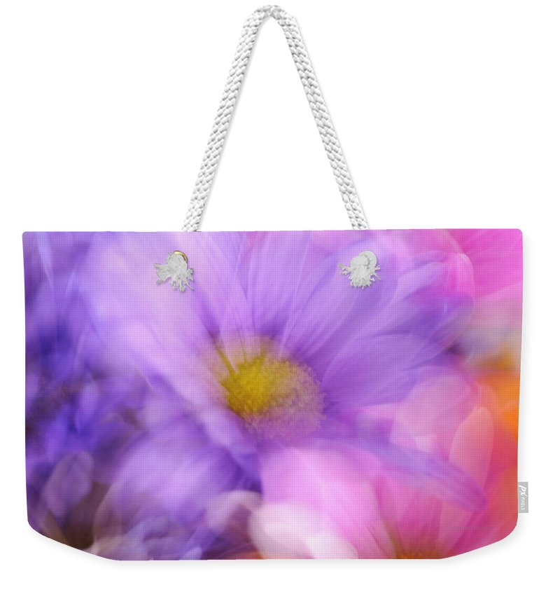 Kenny Francis Weekender Tote Bag featuring the photograph Wild Crazy Daisy Abstract by Kenny Francis