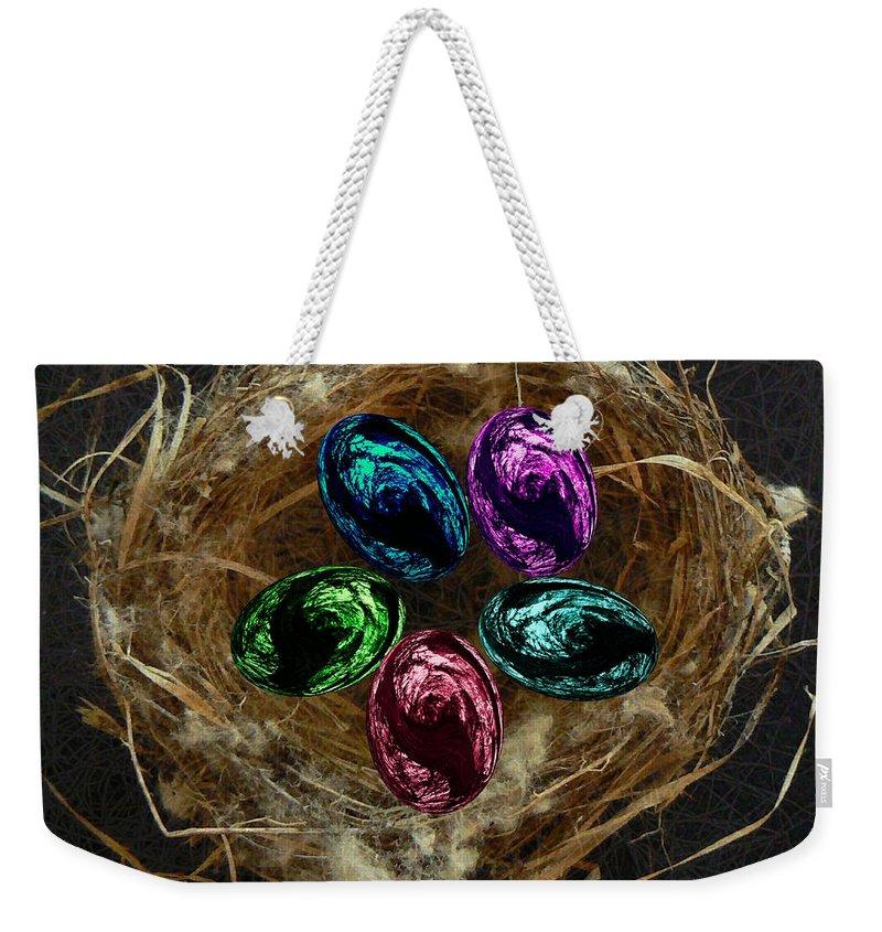 Digital Art Weekender Tote Bag featuring the digital art Wild Eggs In My Nest by Barbara St Jean