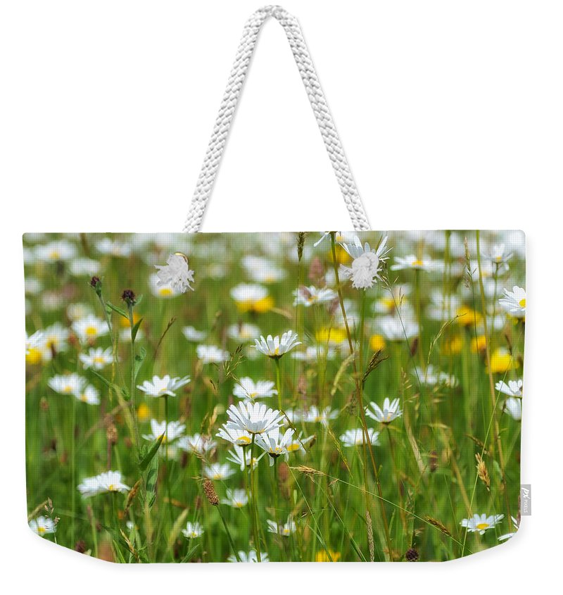 Flora And Fauna Weekender Tote Bag featuring the photograph Wild Flower Meadow by Janet Burdon