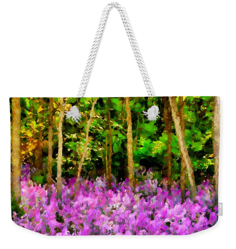 Impressionism Weekender Tote Bag featuring the digital art Wild Forest Violets by Georgiana Romanovna