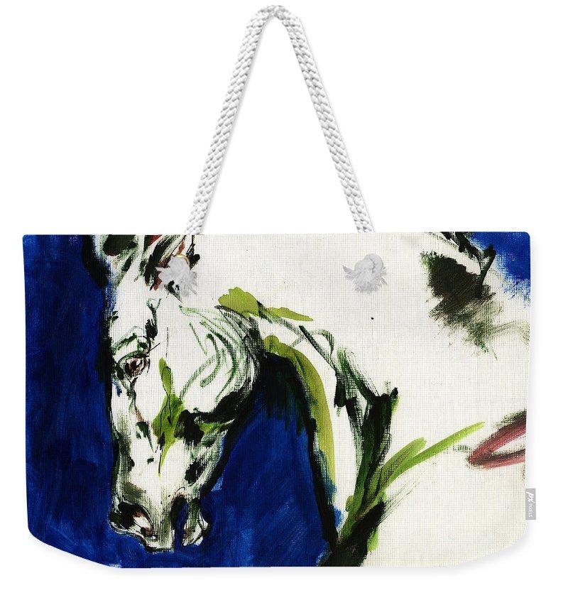 Horse Artwork Weekender Tote Bag featuring the painting Wild Horse by Angel Ciesniarska