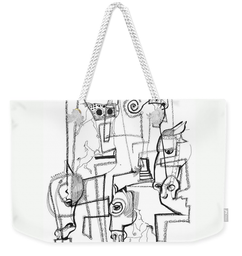 Mary Ogden Armstrong Weekender Tote Bag featuring the drawing Wild Horse Day by Mary Armstrong