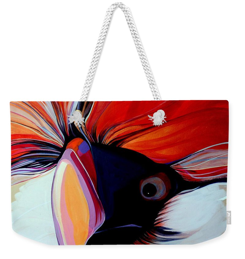 Bird Weekender Tote Bag featuring the painting Wild Thang by Marlene Burns