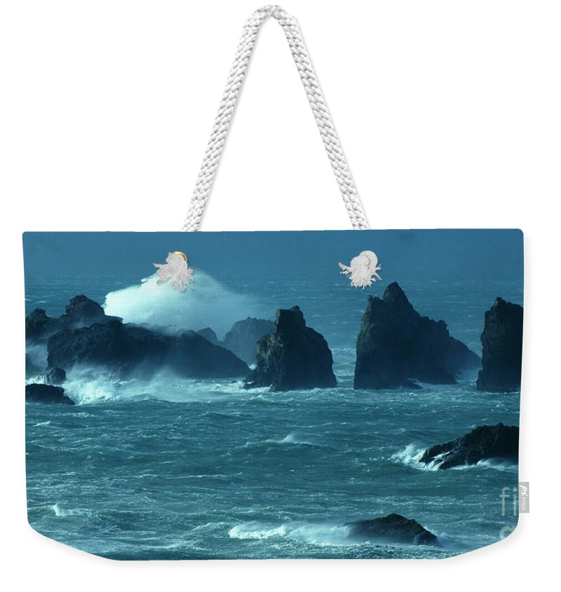 Bandon By The Sea Weekender Tote Bag featuring the photograph Wild Waters 2 by Vivian Christopher