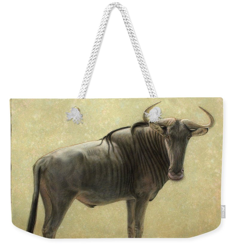 Wildebeest Weekender Tote Bag featuring the painting Wildebeest by James W Johnson