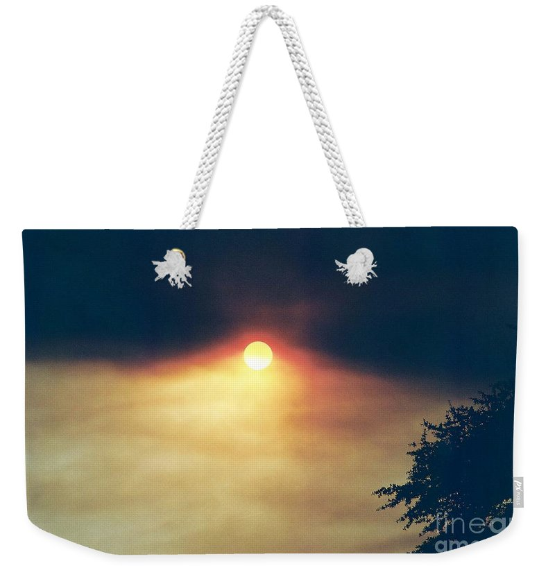 Wildfire Weekender Tote Bag featuring the photograph Wildfire Smoky Sky by Kerri Mortenson