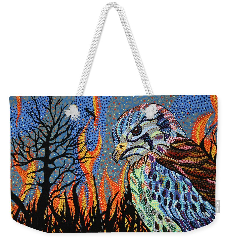 Wildfire Weekender Tote Bag featuring the painting Wildflire by Erika Pochybova