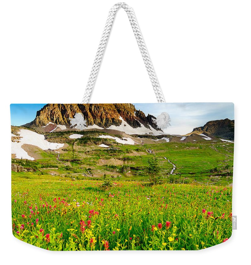Glacier National Park Weekender Tote Bag featuring the photograph Wildflowers At Logan Pass by Joe Mamer