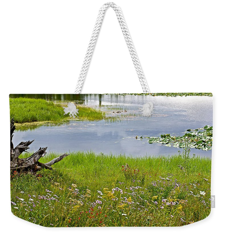 Wildflowers By Heron Pond In Grand Teton National Park Weekender Tote Bag featuring the photograph Wildflowers By Heron Pond In Grand Teton National Park-wyoming by Ruth Hager