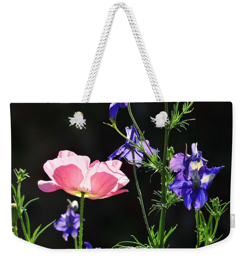 Flower Weekender Tote Bag featuring the photograph Wildflowers On Black by Lynn Bauer