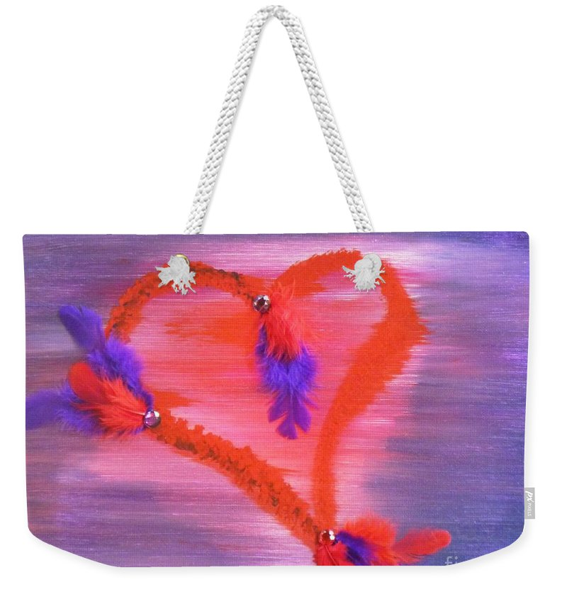 Feathers Weekender Tote Bag featuring the mixed media Wildheart II by Alys Caviness-Gober