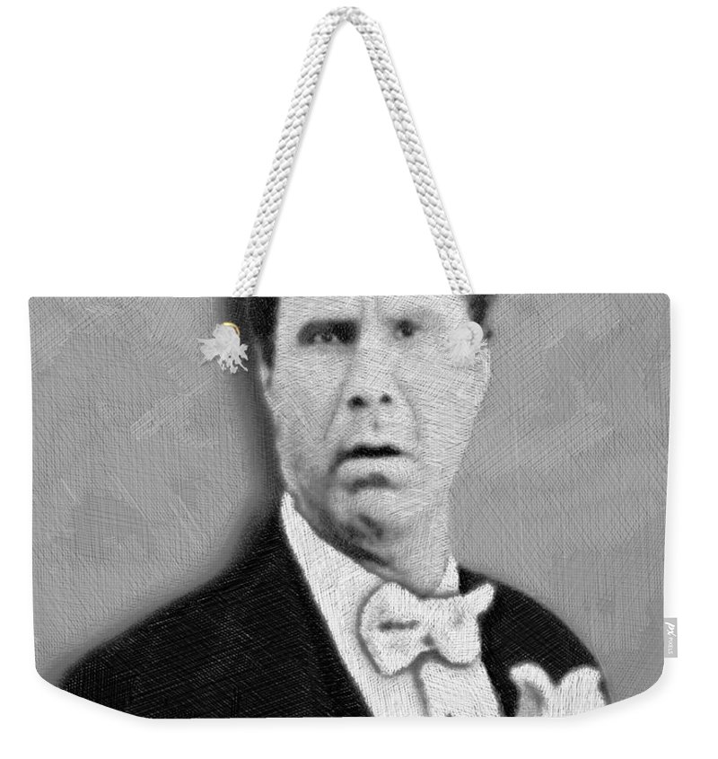 Anchorman Weekender Tote Bag featuring the mixed media Will Ferrell Old School by Tony Rubino