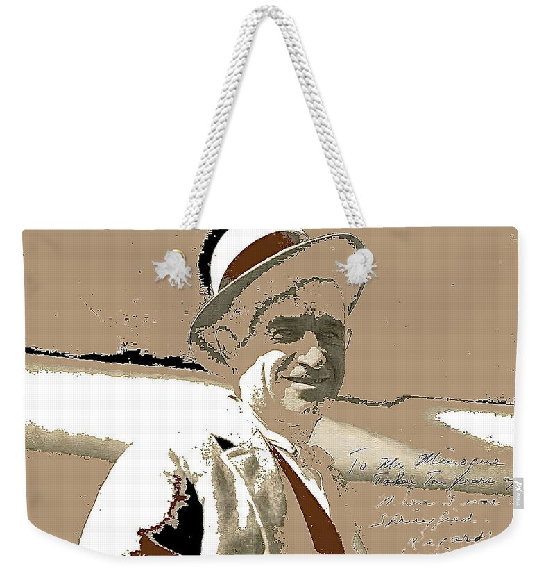 Will Rogers Informal Portrait Unknown Photographer Or Location 1924 Weekender Tote Bag featuring the photograph Will Rogers Informal Portrait Unknown Photographer Or Location 1924-2014 by David Lee Guss