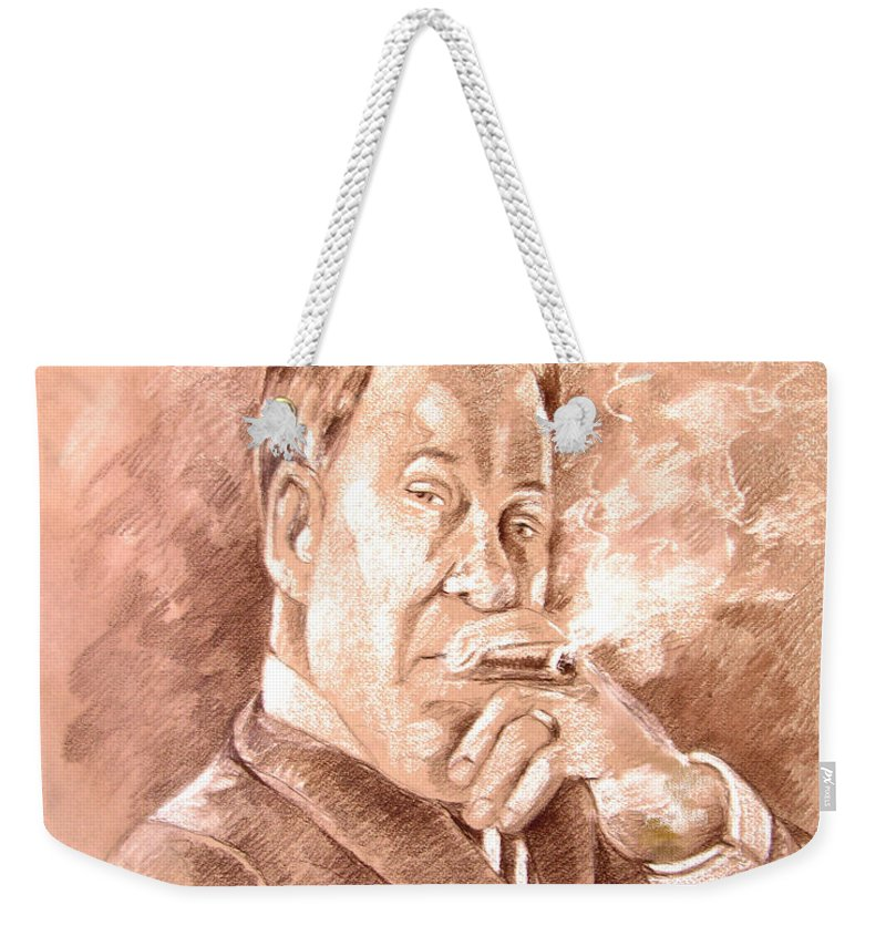 Portrait William Shatner Weekender Tote Bag featuring the painting William Shatner As Denny Crane In Boston Legal by Miki De Goodaboom
