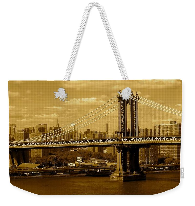 Iphone 5 Cover Cases Weekender Tote Bag featuring the photograph Williamsburg Bridge New York City by Monique's Fine Art