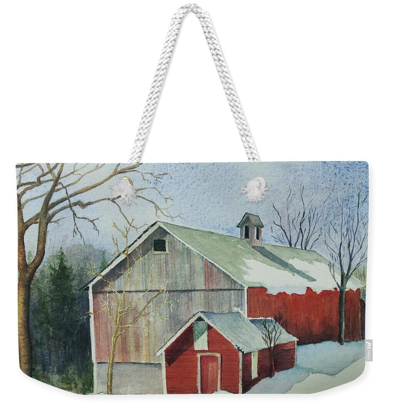 Christmas Card Weekender Tote Bag featuring the painting Williston Barn by Mary Ellen Mueller Legault