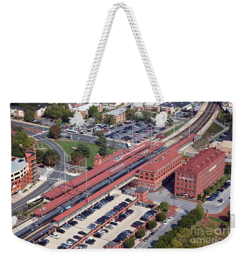 Aerial Weekender Tote Bag featuring the photograph Wilmington Amtrak by Bill Cobb