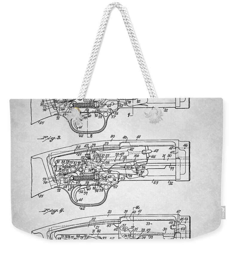 Patent Weekender Tote Bag featuring the drawing Winchester Slide Action Firearm Patent 1933 by Mountain Dreams