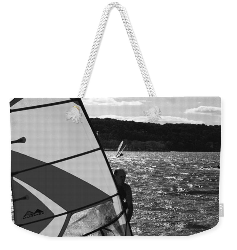 Sandy Weekender Tote Bag featuring the photograph Wind Surfer II Bw by Pablo Rosales