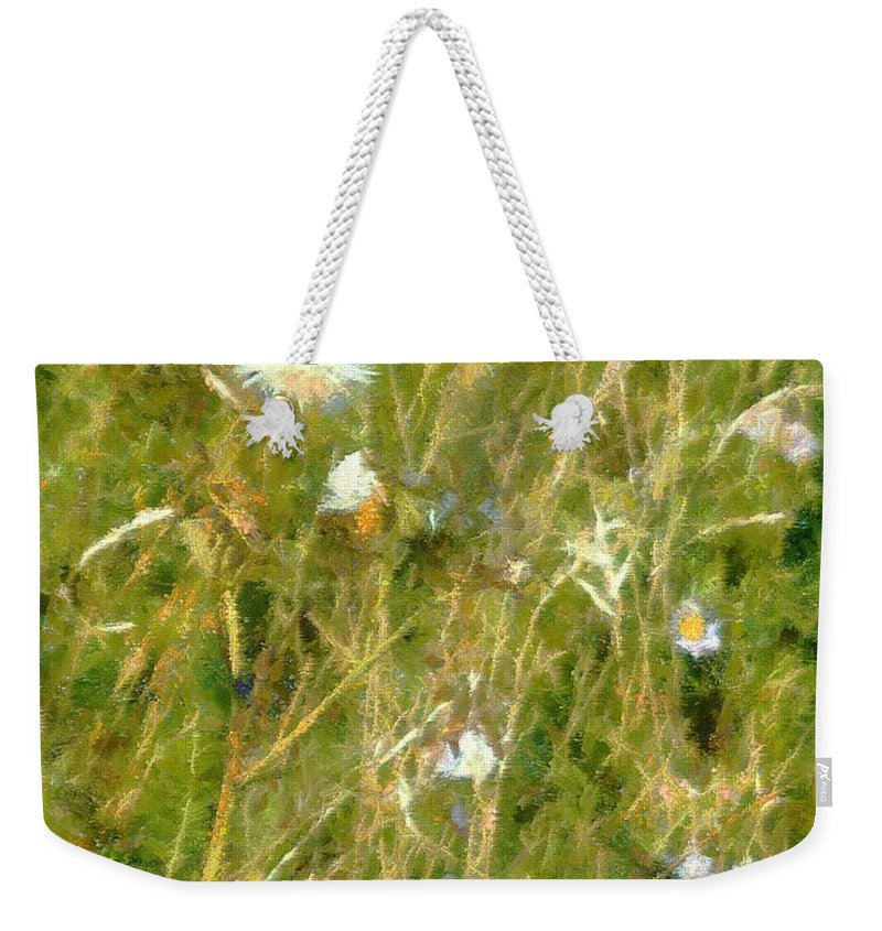Bluets Weekender Tote Bag featuring the painting Wind Through The Meadow by RC DeWinter
