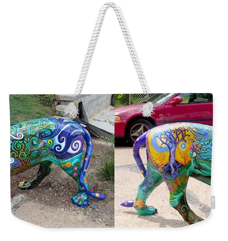 Lion Statue Weekender Tote Bag featuring the painting Winding Earth Camo Lion by Genevieve Esson